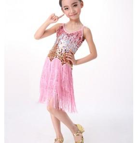 Children sequins Latin skirts Flow Sula Ding Latin piece halter skirts dress
