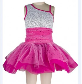 Chilren kids sequined silver and fuchsia patchwork leotard skirt ballet dance dress
