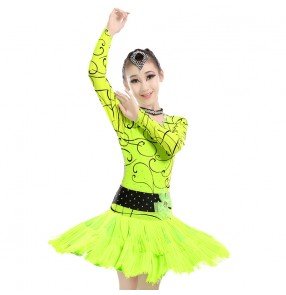 Coral fuchsia neon green colored girls long sleeves backless  tassels rhinestones competition samba salsa latin dance dresses