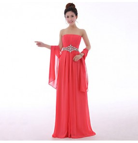 Coral green black red yellow fuchsia Women's off shoulder diamond waist decoration chiffon A-line evening dress wedding party evening dress