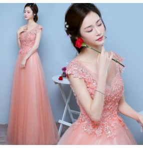 Coral pink colored women's ladies fashion rhinestones long length A line pleated tulle lace appliques wedding party bridesmaids evening dresses vestidos