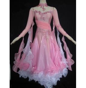 Custom girls Women's pink and white diamond  patchwork waltz full skirted ballroom dance dress