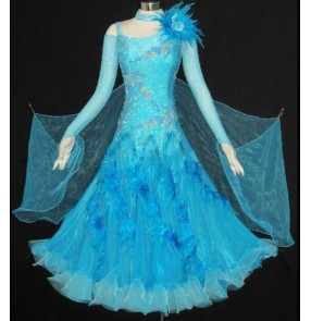 Custom size competition Women's long sleeves feather  ballroom waltz competition dance dress