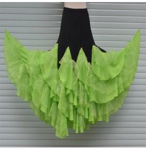 Custom size Fuchsia neon green handmade Women's girls ladies female ruffles competition professional long length ballroom waltz flamenco dance skirts