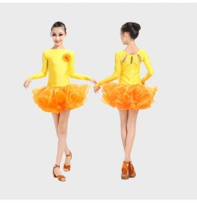 Custom size girls  child baby kids children orange milk silk long sleeves competition professional latin dance ballroom salsa cha cha dance dresses