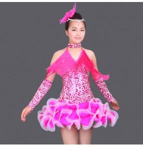Custom size Girls child sequined long tassel latin dance dress 110-160 royal blue fuchsia