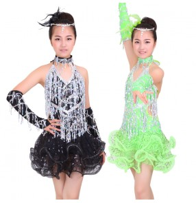 Custom size girls children long sequined tassel latin dress salsa dance dress backless