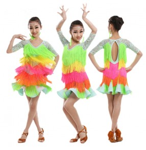 Custom size Girls kids children child baby lace  neon green rainbow color lace sleeves fringe tassels ballroom latin salsa dance dresses competition