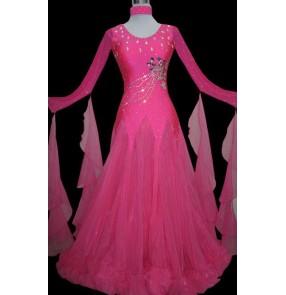 Custom size girls women children competition diamond Women's fuchsia competition ballroom waltz dance dress