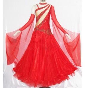 Custom size girls Women's red diamond competition waltz ballroom dance dress standard tango dance dress
