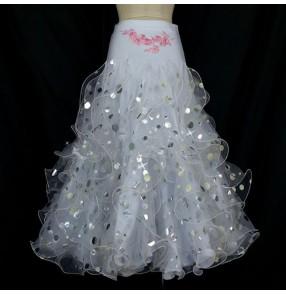 Custom size girls Women's sequined paillette white ballroom dance skirt