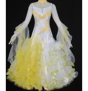 Custom size girls Women's standard competition yellow and white patchwork full skirted ballroom dance dress