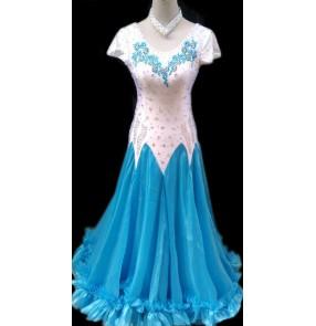 Custom size Girs Women's white turquoise patchwork ballroom dance dress waltz tango dress
