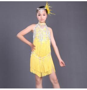 Custom size sequined tassel girls child salsa latin dance dress red neon green 110-160cm