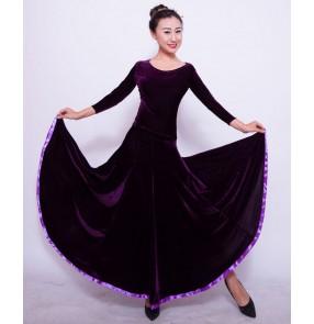 Custom size Women's girls ladies competition violet royal blue black velvet long sleeves ballroom dance dresses set long sleeves top and long length skirts