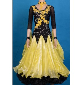 Custom size Women's yellow and black patchwork diamond waltz tango ballroom dance dress long length