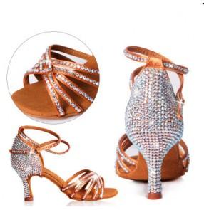 Customized  Women's girls high quality luxury handmade colorful diamond decoration tango ballroom waltz salsa latin dance shoes 5.5cm,6.5cm,7cm,7.5cm,8.5cm  shoes heel