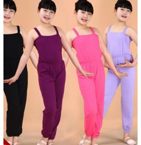 Dark purple violet light pink fuchsia turquoise blue yellow black strap girls kids child children catsuit jumpsuits bodysuits unitard  gymnastics practice ballet latin dance costumes leotard  pants