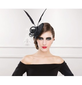 Dress Pillbox Hats Church hats for Races Wedding Party Lady Bridal Mesh Handmade Gift Fascinator Feather