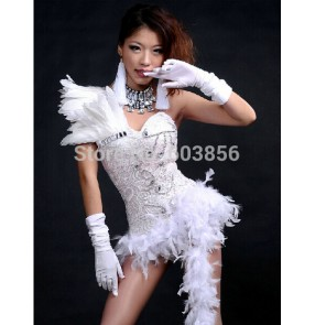 Feather ds costume dance jazz black and white color block formal dress tuxedo costumes