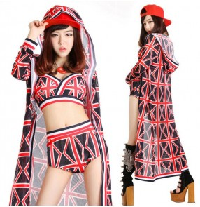 Female printed hiphop three pieces dance costume top shorts and long cloak