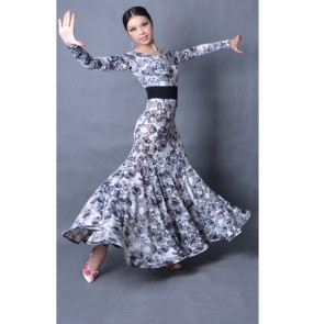 Flamenco dress Dancing Modern dance costume Ballroom dance dress Long sleeve flower