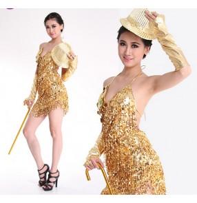 Flow Sula Ding shiny piece dress tassel costumes Latin piece halter skirts dresses