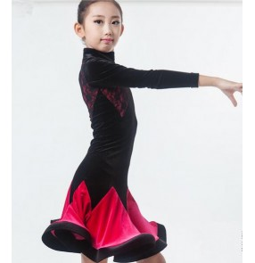 Fuchsia black lace patchwork competition professional exercises long sleeves latin dance dresses ballroom dance dresses