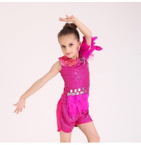Fuchsia colored girls kids child children baby short sleeves sequins rhinestones feather decoration modern dance jazz dance dj ds dance costumes dresses set top and shorts