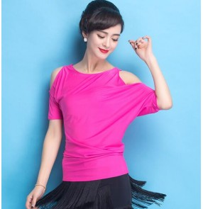 Fuchsia colored women's ladies female short sleeves exposure shoulder short sleeves competition ballroom waltz tango latin dance tops only