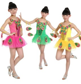 Fuchsia green yellow gold Girls kids child children fuchsia green yellow backless modern dance stage performance jazz dance costumes with butterfly wing dresses  latin dance dresses