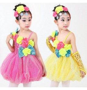 Fuchsia green yellow rainbow colored flowers paillette toddlers girls kids child children princess dresses party modern dance stage performance cos play jazz dj dance dresses costumes