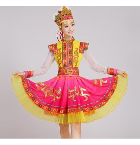 Fuchsia hot pink gold yellow patchwork long sleeves high quality women's girls cos play party minority russian folk minority international stage performance outfits costumes dresses