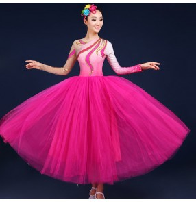 Fuchsia hot pink gradient colored long sleeves big skirted long length women's ladies fashion modern dance  fairy cosplay party performance dancing dresses outfits