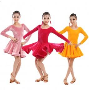 Fuchsia hot pink light pink orange velvet girls kids children competition school play stage performance latin cha cha ballroom dance dresses outfits