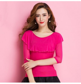 Fuchsia hot pink long sleeves ruffles neck women's ladies female competition professional ballroom tango waltz latin dance tops