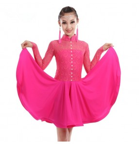 Fuchsia hot pink mint light green girls kids children lace turtle neck long sleeves gymnastics competition professional ballroom latin dance dresses outfits dancewear