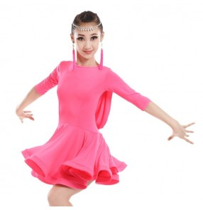 Fuchsia hot pink mint light green middle long sleeves backless girls kids children competition school play professional latin ballroom dance dresses outfits