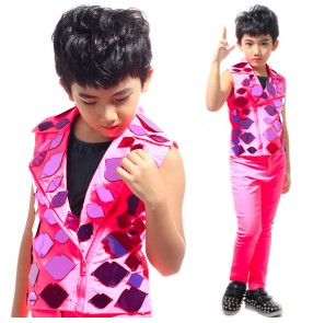 Fuchsia hot pink mirror reflective decoration sparkling vest long pants stage performance boys kids children competition hip hop jazz host drummer play dancing dance outfits