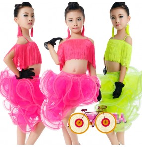 Fuchsia hot pink neon green fringes split sets girls kids children competition performance professional ballroom latin salsa cha cha dance dresses outfits