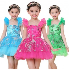 Fuchsia hot pink turquoise blue green paillette sequined sleeveless girls kids child children toddlers growth baby modern princess stage performance jazz dj ds dance costumes modern dance dresses