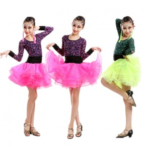 Fuchsia neon green lace patchwork colored girls child children baby long sleeves round neck competition latin salsa samba cha cha dance dresses