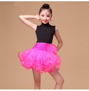 Fuchsia neon green red black patchwork girls kids child children baby turtle neck sleeveless ruffles swing skirts latin samba salsa cha cha dance dresses