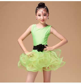 Fuchsia neon green red colored girls kids child children sleeveless double shoulder competition  professional latin  samba salsa cha cha dance dresses with sashes
