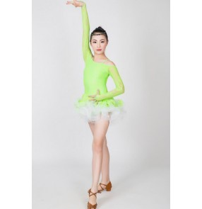 Fuchsia neon green red Girls kids child children baby long sleeves lace competition professional exercises latin ballroom salsa cha cha dance dresses