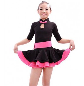 Fuchsia orange black patchwork colored girls kids child children short sleeves turtle neck exercises practice latin dance dresses  salsa dance dresses