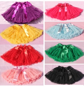 fuchsia orange pink sky blue black white Girls kids child children baby fluffy cake ballet tulle tutu skirts professional Party princess dance skirts petticoat skirts