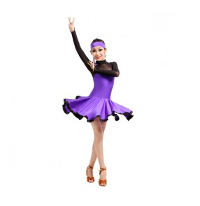 Fuchsia orange violet Girls children long sleeves milk silk latin ballroom dance dresses 110-160