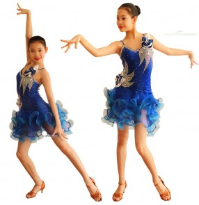 Fuchsia red black turquoise , royal blue white violet rhinestones girls kids child children kindergarten growth backless sleeveless competition professional latin ballroom dance dresses