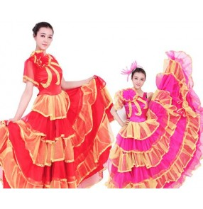 Fuchsia red gold patchwork one shoulder womens women's ladies female big swing skirted modern dance opening chorus dancing flamenco spanish bull dance clothes dresses 540degrees